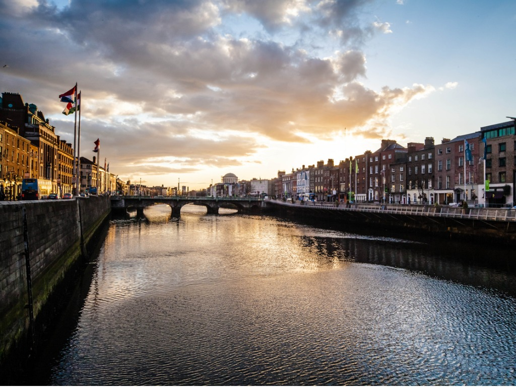 Photo of the River Liffey in Dublin, Ireland at sunset
